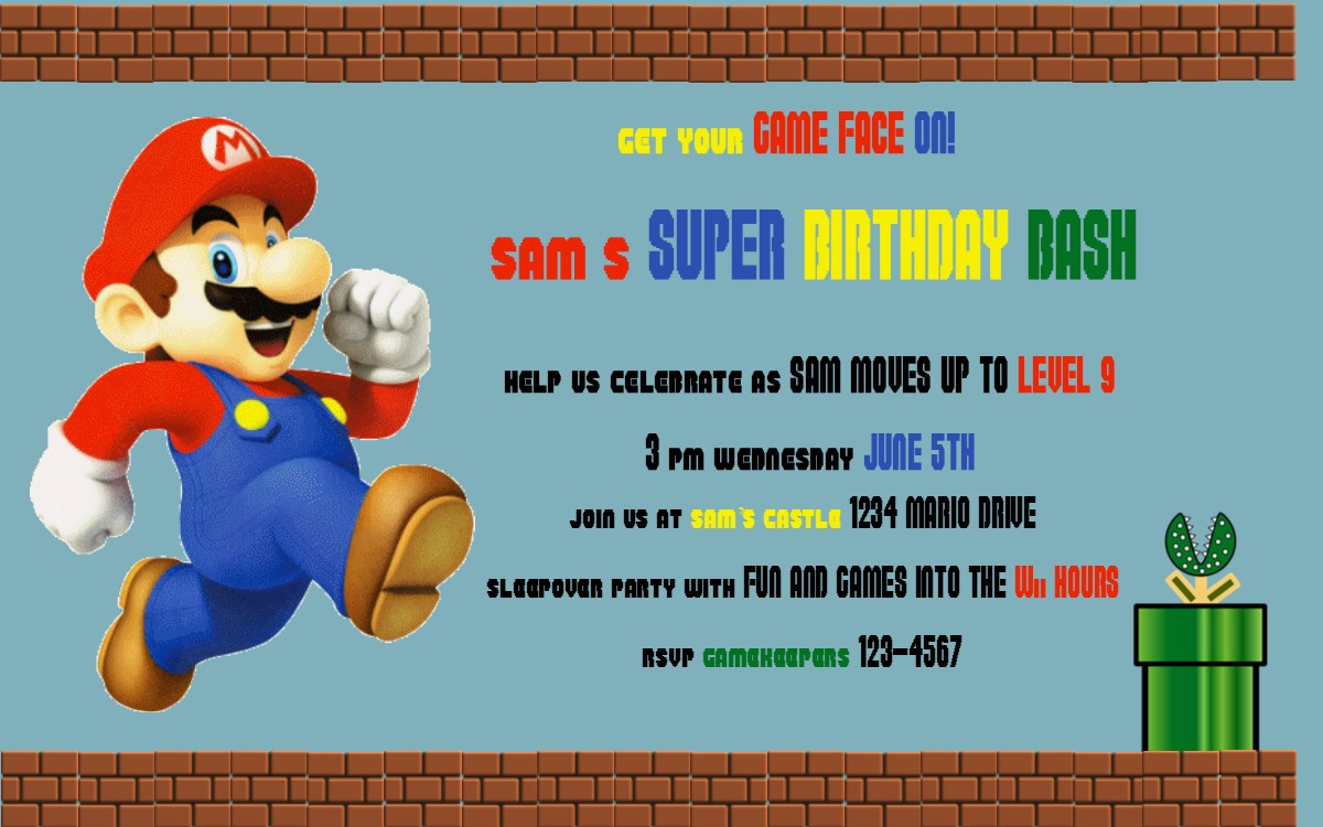 Mario Party Invitations gangcraftnet – Mario Party Invites