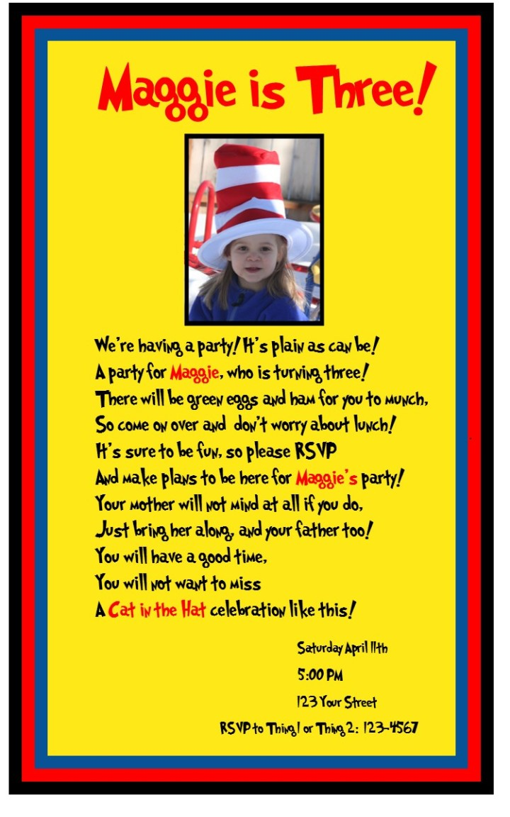 dr. seuss cat in the hat birthday invitation