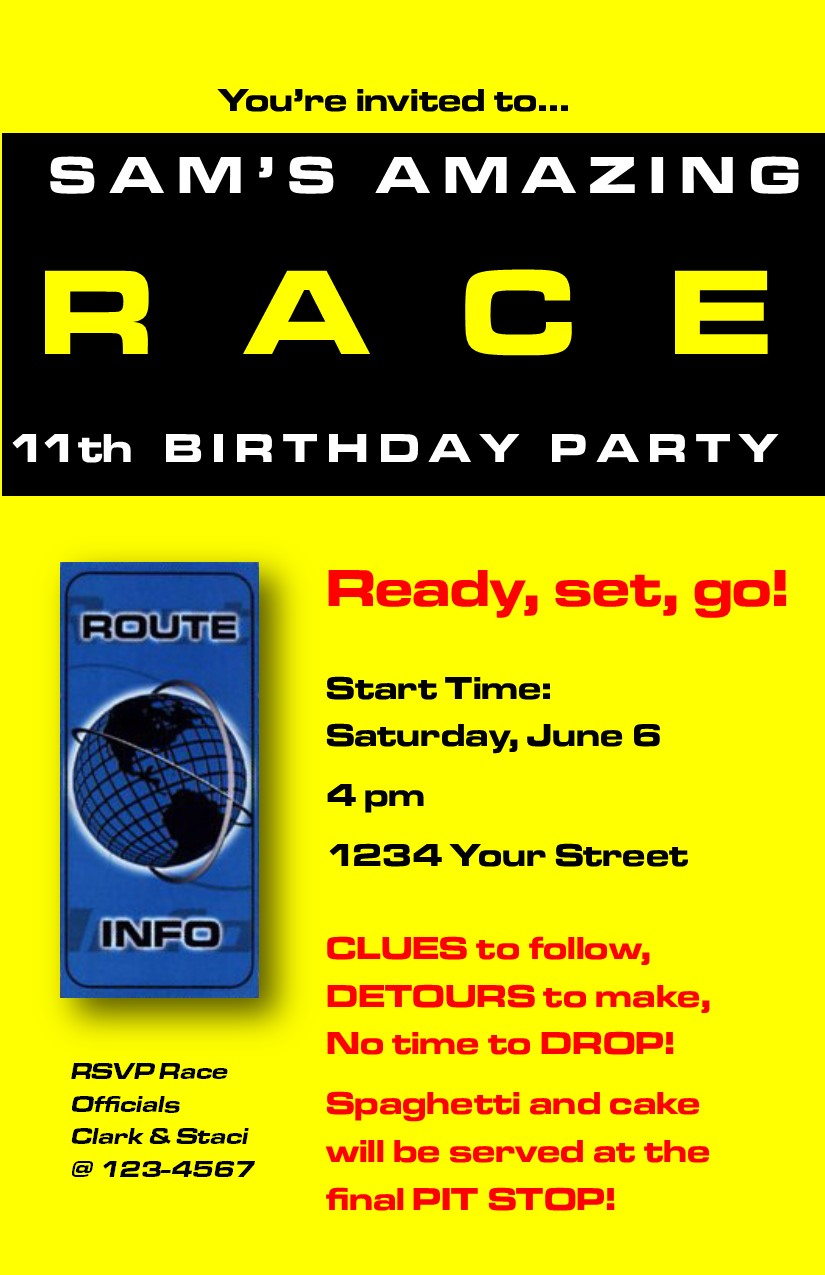 Amazing Race 11th Birthday Party – Profoundly Ordinary